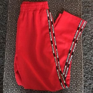Red PrettyLittleThing Stripe Track Pants
